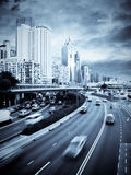 Highway in the city. A busy highway through Causeway Bay, Hong Kong Royalty Free Stock Photography