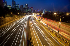 Highway City lights Stock Photography