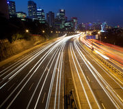 Highway City lights Stock Photo