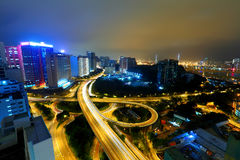 Highway in city at night Royalty Free Stock Photos