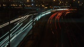 Highway through city at night time lapse.  stock footage