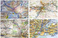 Road vacation maps collage Royalty Free Stock Photography