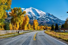 Highway in Colorado Rocky Mountains at autumn. USA. Mount Sopris landscape royalty free stock images