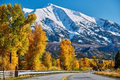 Highway in Colorado Rocky Mountains at autumn. USA. Mount Sopris landscape royalty free stock photography