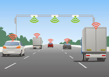 Highway communication system and vehicles Stock Photography
