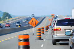 Highway Construction. With a Yield Sign Stock Photo