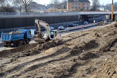 Highway construction site. Earth moving on a highway construction site Royalty Free Stock Photos
