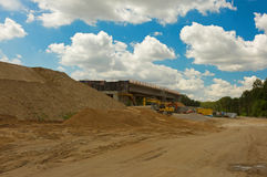 Highway construction site through the forest Royalty Free Stock Photography