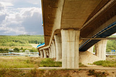 Highway construction from under the bridge Stock Image