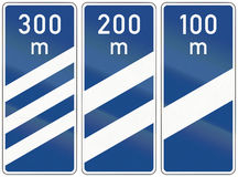 Highway Countdown Markers In Germany Royalty Free Stock Images
