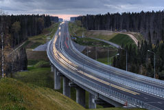 A highway crosses the Russian forest at night. Royalty Free Stock Photo