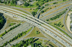 Highway crossing highway - aerial view. Aerial perspective of I-405 crossing over I-90 in Bellevue, WA Stock Photos