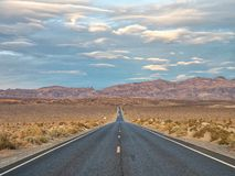 Highway 190 crossing Panamint Valley in Death Valley National Pa stock image