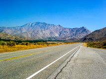 Highway 190 crossing Panamint Valley in Death Valley National Park, California, USA stock images