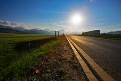 A highway crossing the plateau meadow stock image