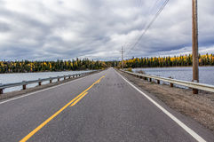 Highway. Crossing a wide lake Stock Photo