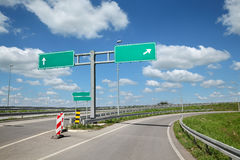 Highway crossroad and signs Royalty Free Stock Photos