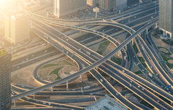 Highway crossroads. At sunset, aerial view Stock Photo