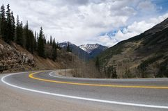 Highway curve. A curve in a highway through the mountains, Silverton, Colorado Royalty Free Stock Photos