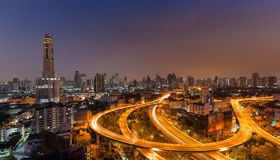 Highway curved with the tallest building Stock Image
