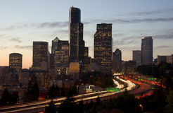 Interstate 5 Cuts Through Seattle Town Center Stock Images
