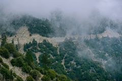 A highway cuts through a california mountain Stock Image