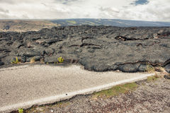 Highway damaged by lava Stock Images