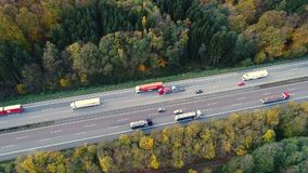 Highway - dense traffic, aerial view stock video