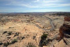 Highway through desert. Aerial view of highway through desert viewed from mountainside Stock Photos