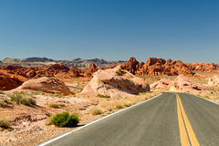 Highway through desert Stock Image