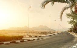 Highway in desert Royalty Free Stock Photos