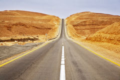 The highway in desert in spring day Royalty Free Stock Image
