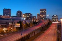 Highway Into Downtown Tacoma Washington City Skyline Stock Photography