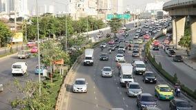 Motorway driving traffic jam stock video footage