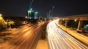 Highway driving busy traffic time lapse at night stock footage