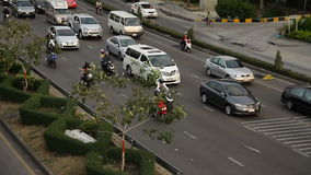 Motorway driving traffic jam stock footage