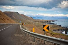 Highway at sea coastline of East Iceland Stock Images
