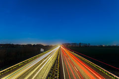 Highway between the Dutch cities of Arnhem and Doesburg Stock Photos
