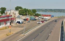 Highway E95 passes through the Khadzhibey Estuary, Ukraine. Stock Photography