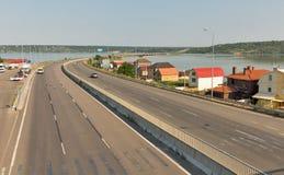 Highway E95 passes through the Khadzhibey Estuary, Ukraine. Royalty Free Stock Photos