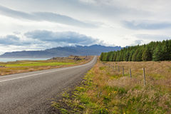 Highway through East Iceland Landscape Royalty Free Stock Images