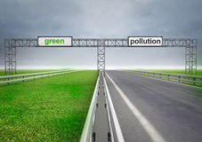 Highway for ecological and normal transport with sky Royalty Free Stock Image