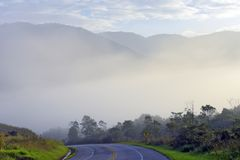 Highway empty with fog, hills and trees. Highway empty, with fog, hills and trees in the background. Rio Santos Road, Sao Paulo, Brazil royalty free stock image
