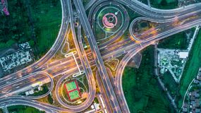 Highway, Expressway, Motorway, Toll way at night, Aerial view in Stock Image
