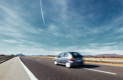 Highway fast car blured motion Royalty Free Stock Images