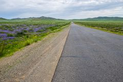 Highway in the field royalty free stock image