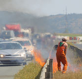 Highway fire traffic jam Stock Images