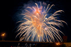 Highway fireworks Royalty Free Stock Photo