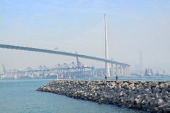 Highway flyover and breakwater Stock Images