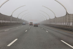 Highway in the fog Royalty Free Stock Images